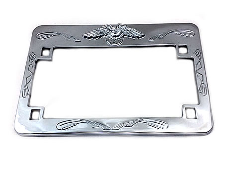 License plate frame with eagle chrome