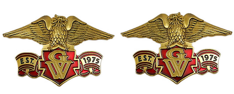 Right/Left eagle emblem set, Est 1975 GW 4-inch
